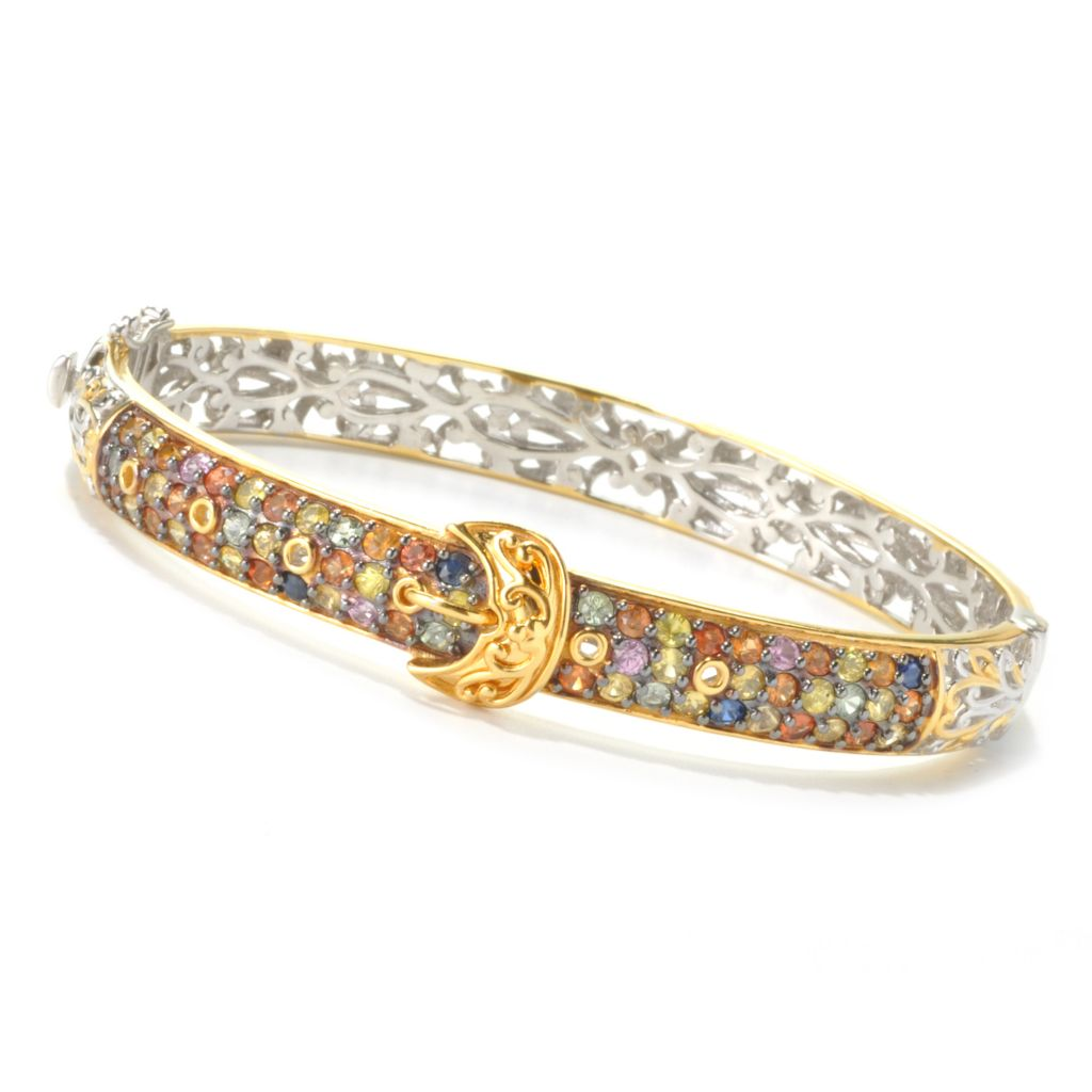 136-018 - Gems en Vogue II 4.80ctw Multi Sapphire Buckle Hinged Bangle Bracelet