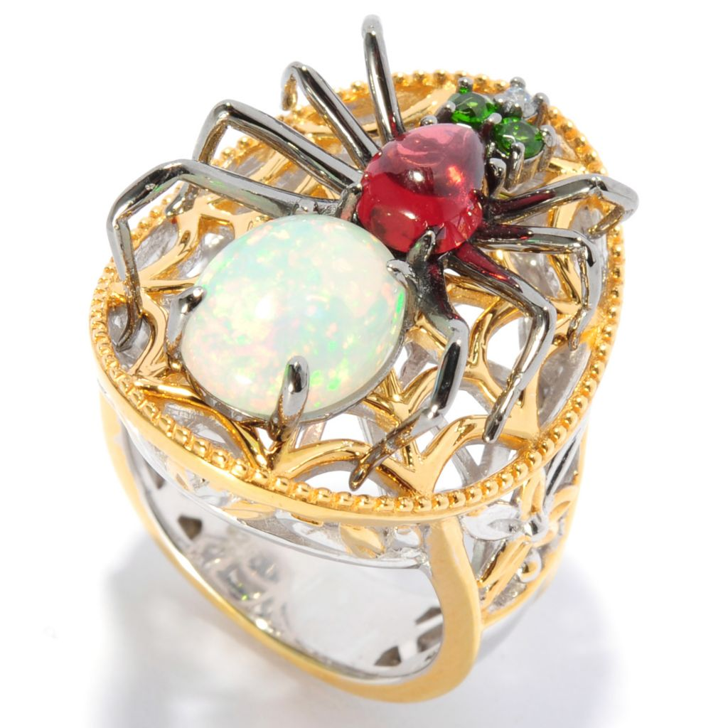 136-019 - Gems en Vogue II 10 x 8mm Ethiopian Opal & Multi Gemstone Spider Ring