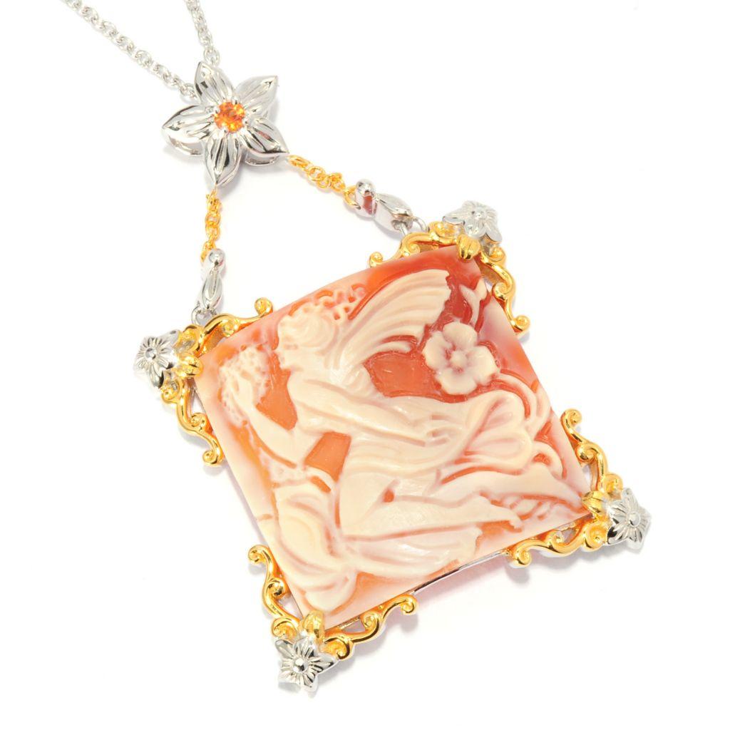 136-020 - Gems en Vogue 30mm Hand-Carved Shell Fairy Cameo & Orange Sapphire Pendant w/ Chain