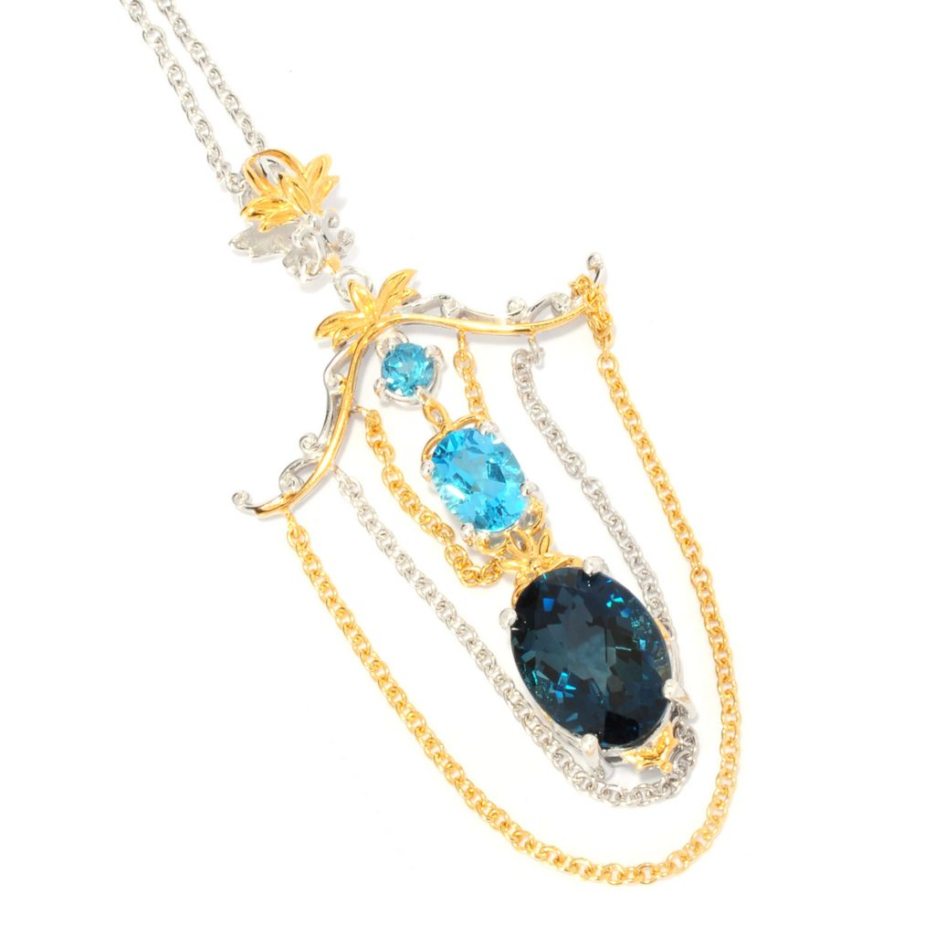 136-022 - Gems en Vogue II 8.30ctw Oval London Blue Topaz & Swiss Blue Topaz Chain Pendant w/ Chain