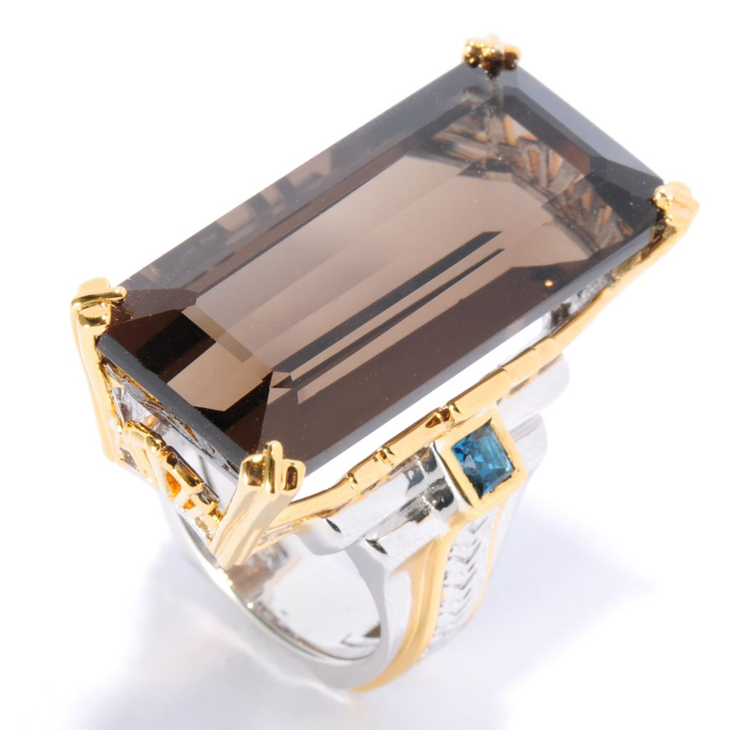 136-023 - Gems en Vogue II 28.19ctw Smoky Quartz & London Blue Topaz Elongated Ring