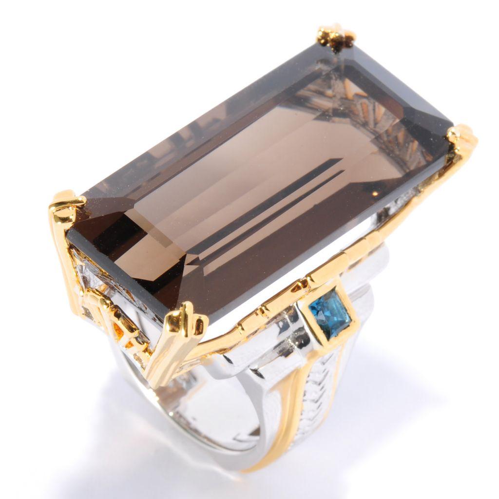136-023 - Gems en Vogue 28.19ctw Smoky Quartz & London Blue Topaz Elongated Ring