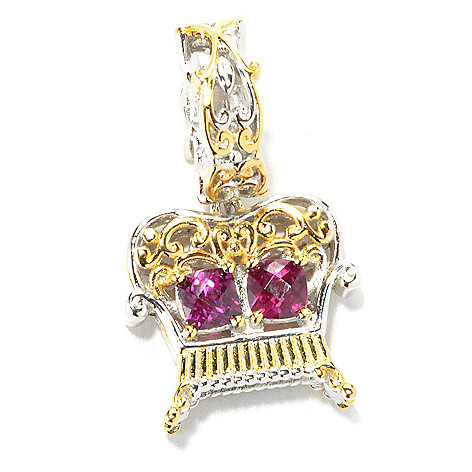 136-031 - Gems en Vogue II Checkerboard Cut Rhodolite Garnet Loveseat Drop Charm