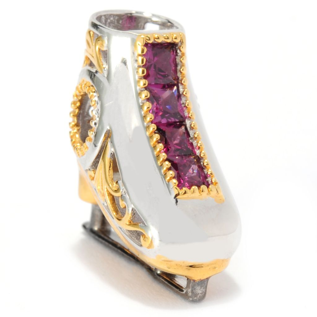 136-036 - Gems en Vogue II Princess Cut Rhodolite Ice Skate Slide-on Charm