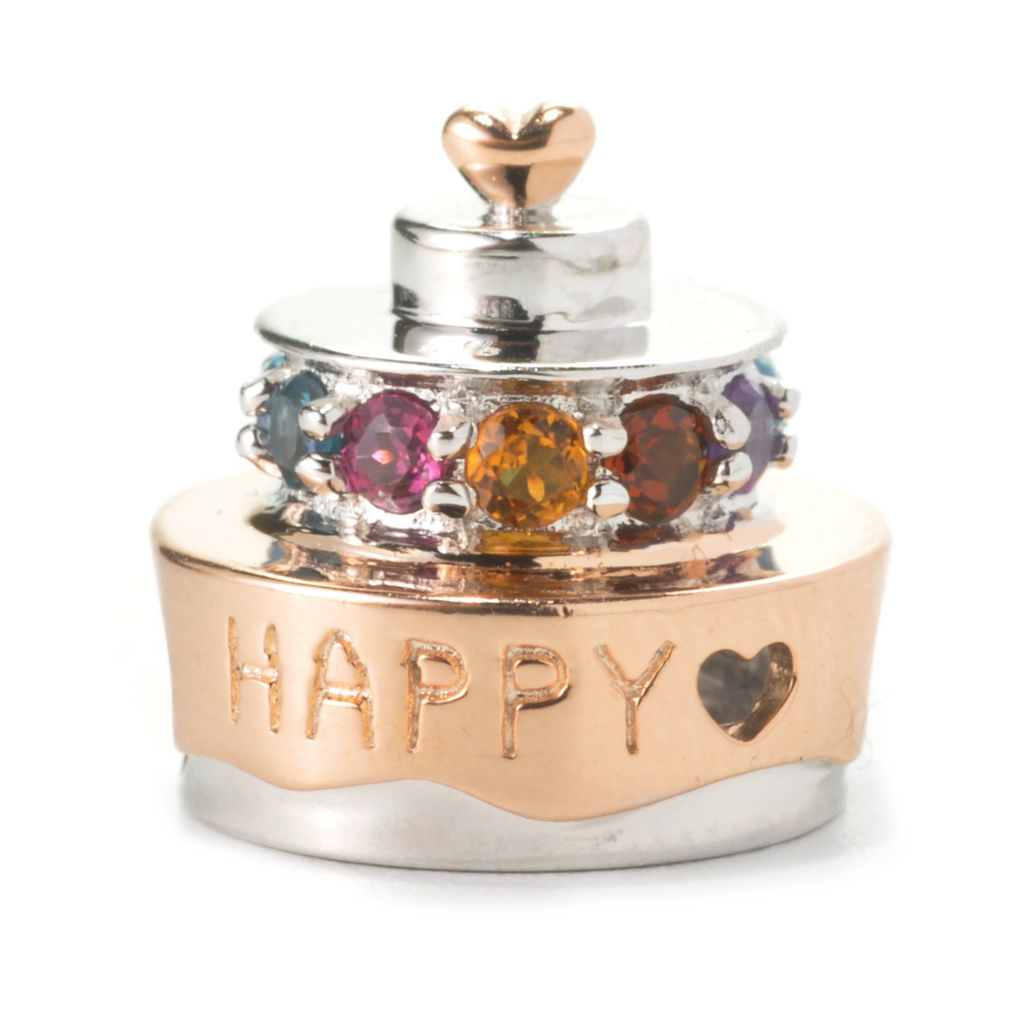 136-037 - Gems en Vogue II Multi Gemstone Birthday Cake Slide-on Charm