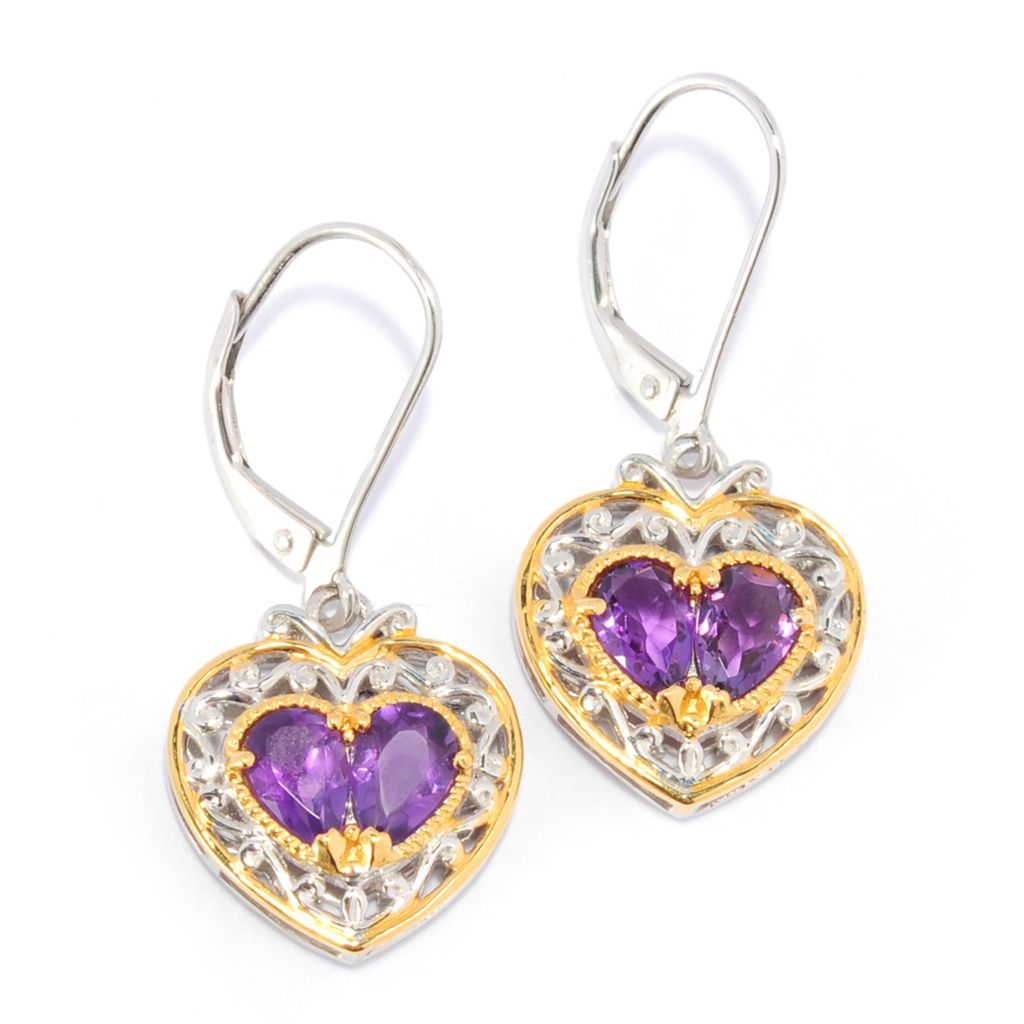 "136-042 - Gems en Vogue 1.25"" Pear Shaped Gemstone Heart Drop Earrings"