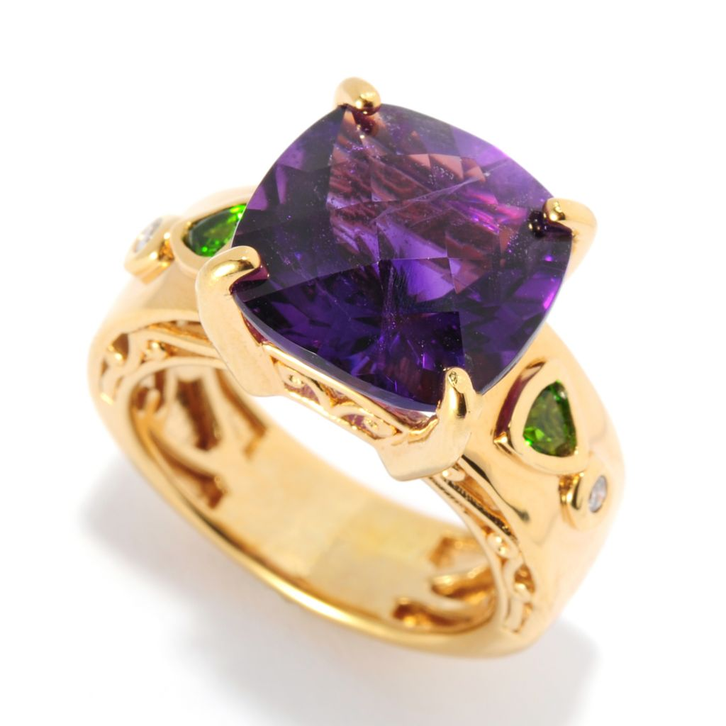 "136-043 - Gems en Vogue 6.32ctw Amethyst & Multi Gemstone ""15th Anniversary"" Ring"