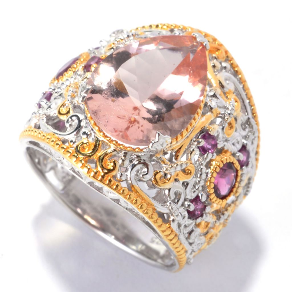 136-044 - Gems en Vogue II 5.11ctw Morganite & Rhodolite Wide Band Ring