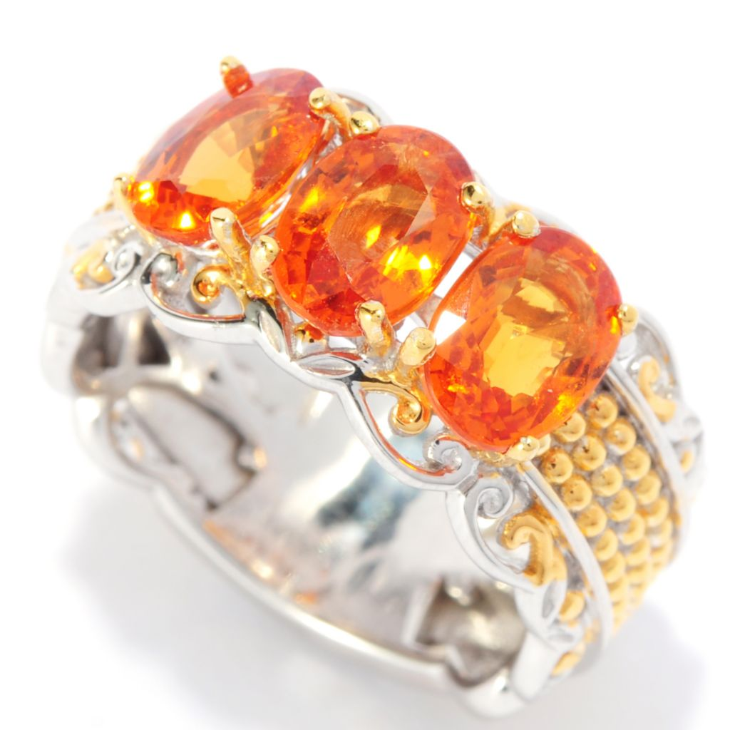 136-045 - Gems en Vogue II 2.88ctw Oval Spessartite Three-Stone Band Ring