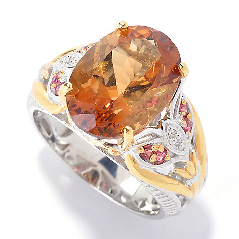 136-046 - Gems en Vogue 5.27ctw Madagascan Scapolite, Orange Sapphire & Diamond Ring
