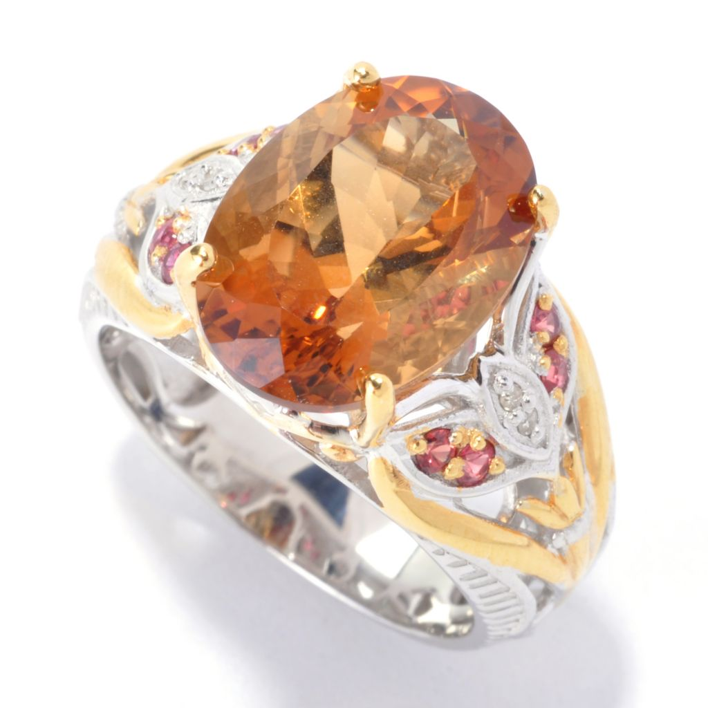 136-046 - Gems en Vogue II 5.27ctw Madagascan Scapolite, Orange Sapphire & Diamond Ring
