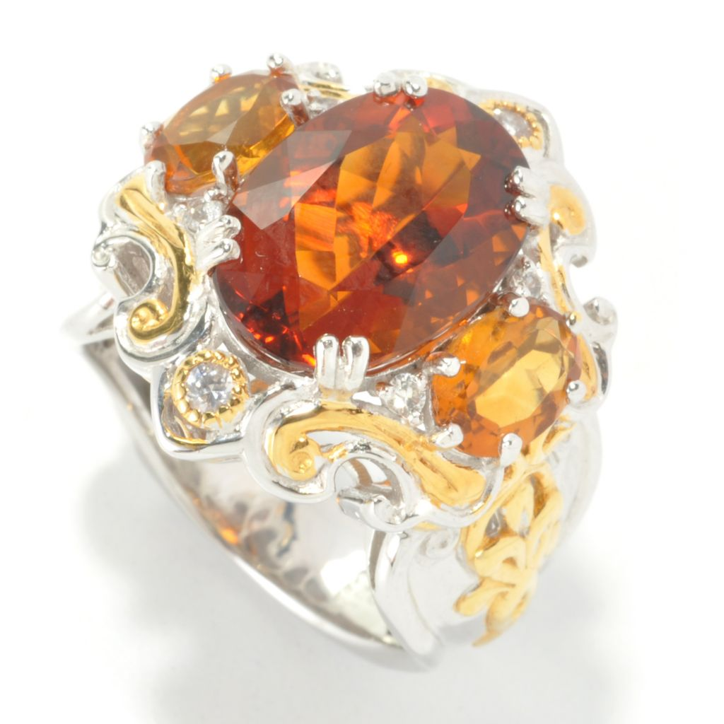 136-047 - Gems en Vogue II 6.48ctw Oval Madeira Citrine & White Sapphire Three-Stone Ring