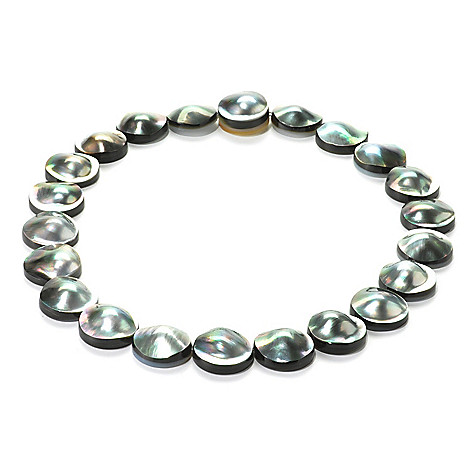 136-082 - 22mm Round Black Tahitian Mabe Blister Cultured Pearl Necklace