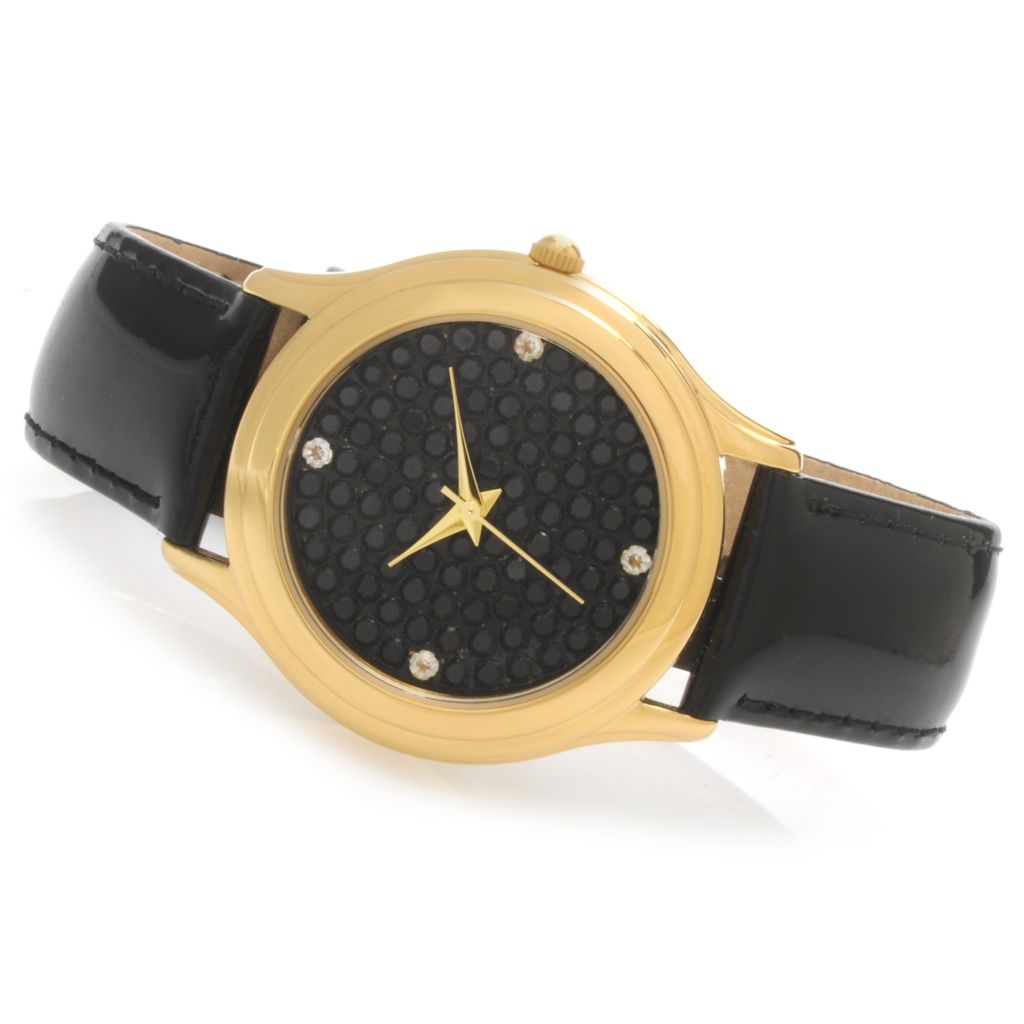136-085 - NYC II Black Spinel & White Topaz Patent Leather Strap Watch