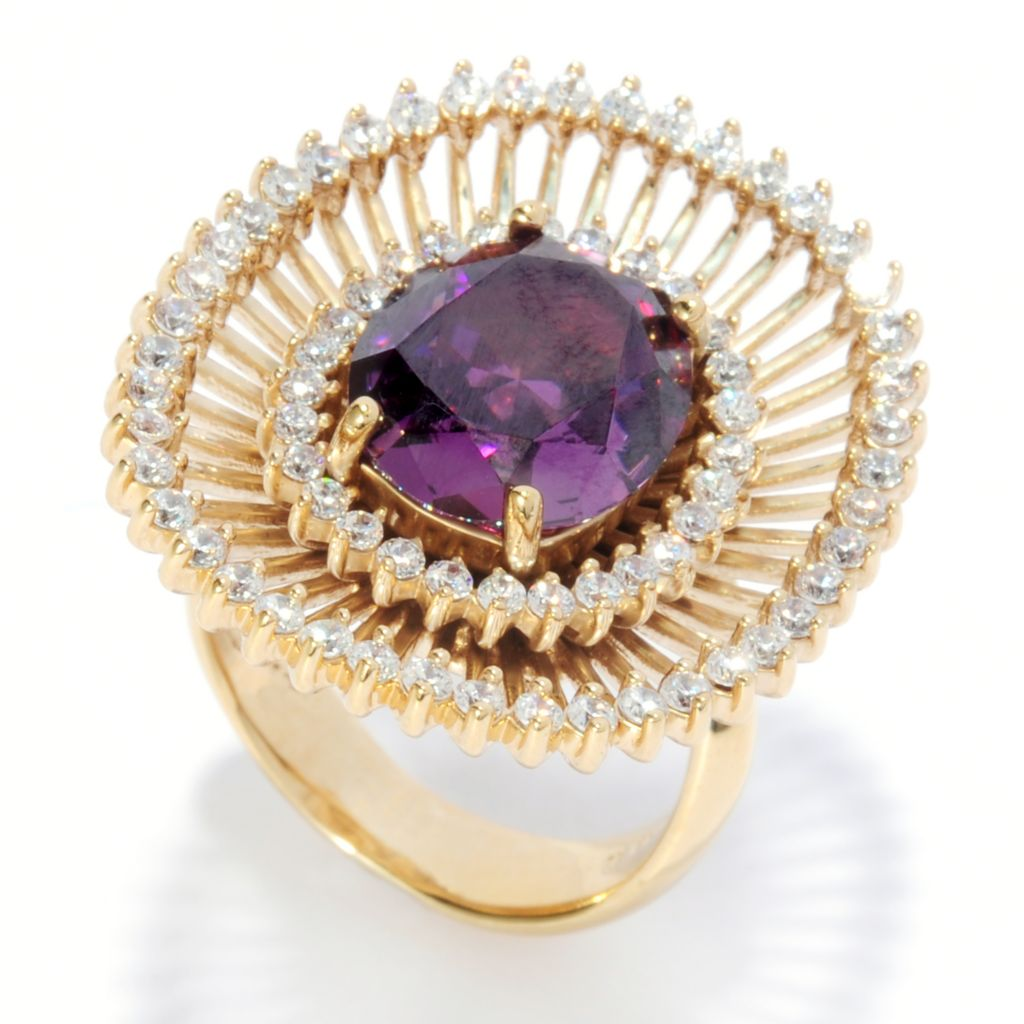 136-091 - Bergio 18K Gold Embraced™ 12 x 10mm Oval Simulated Amethyst Double Halo Ring