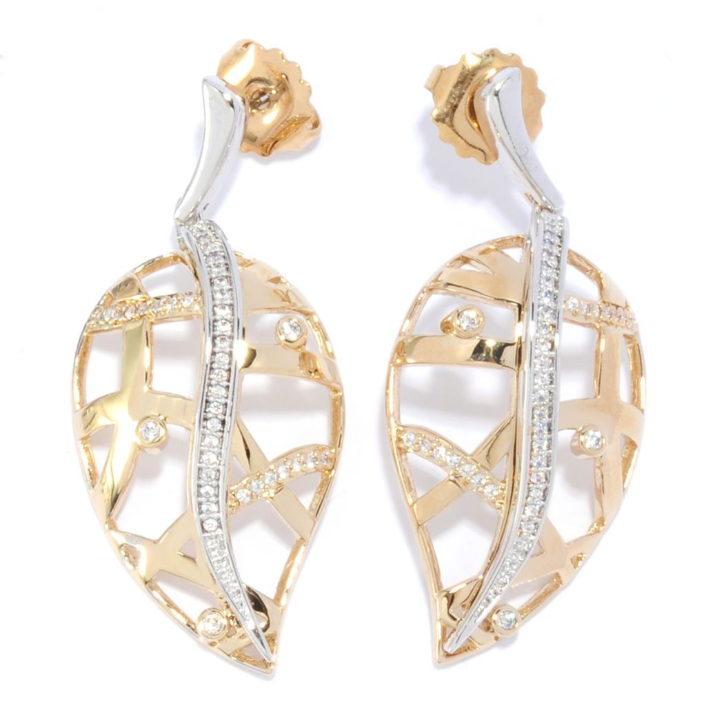 "136-092 - Bergio Two-tone 1.75"" Simulated Diamond Woven Leaf Drop Earrings"