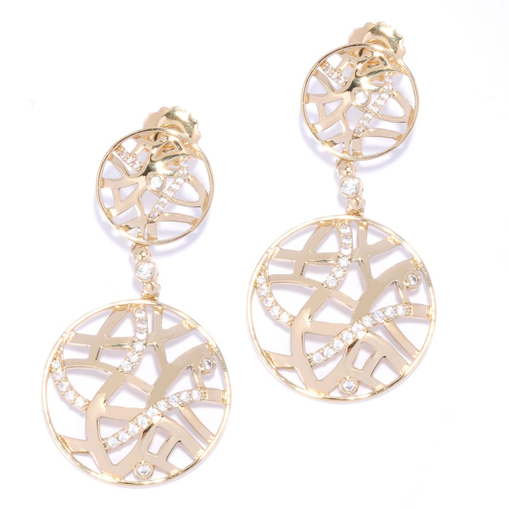 "136-093 - Bergio 18K Gold Embraced™ Simulated Diamond 2"" Double Drop Cut-out Earrings"