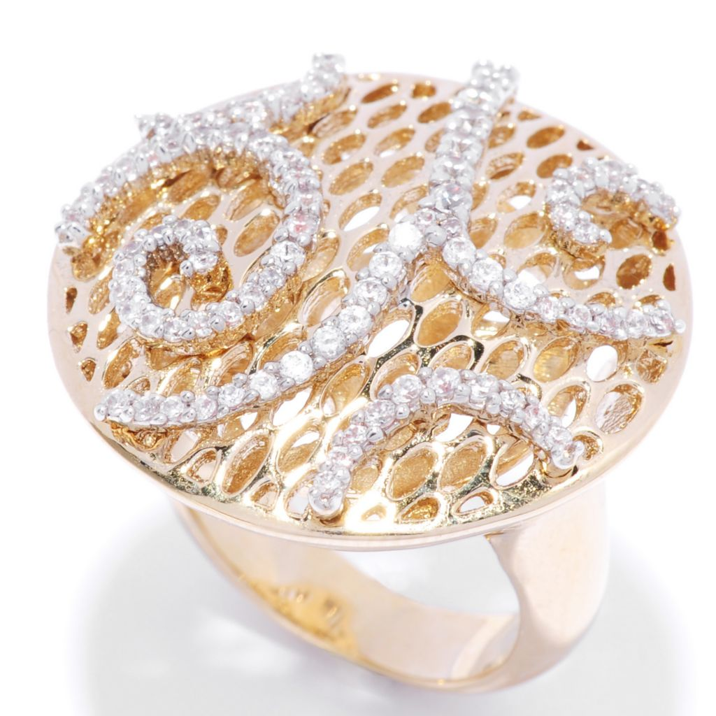 136-095 - Bergio 18K Gold Embraced™ Simulated Diamond Abstract Swirl Wide Disk Ring