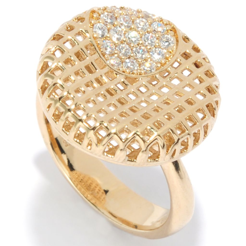 136-096 - Bergio 18K Gold Embraced™ Simulated Diamond Woven Disk Concave Ring