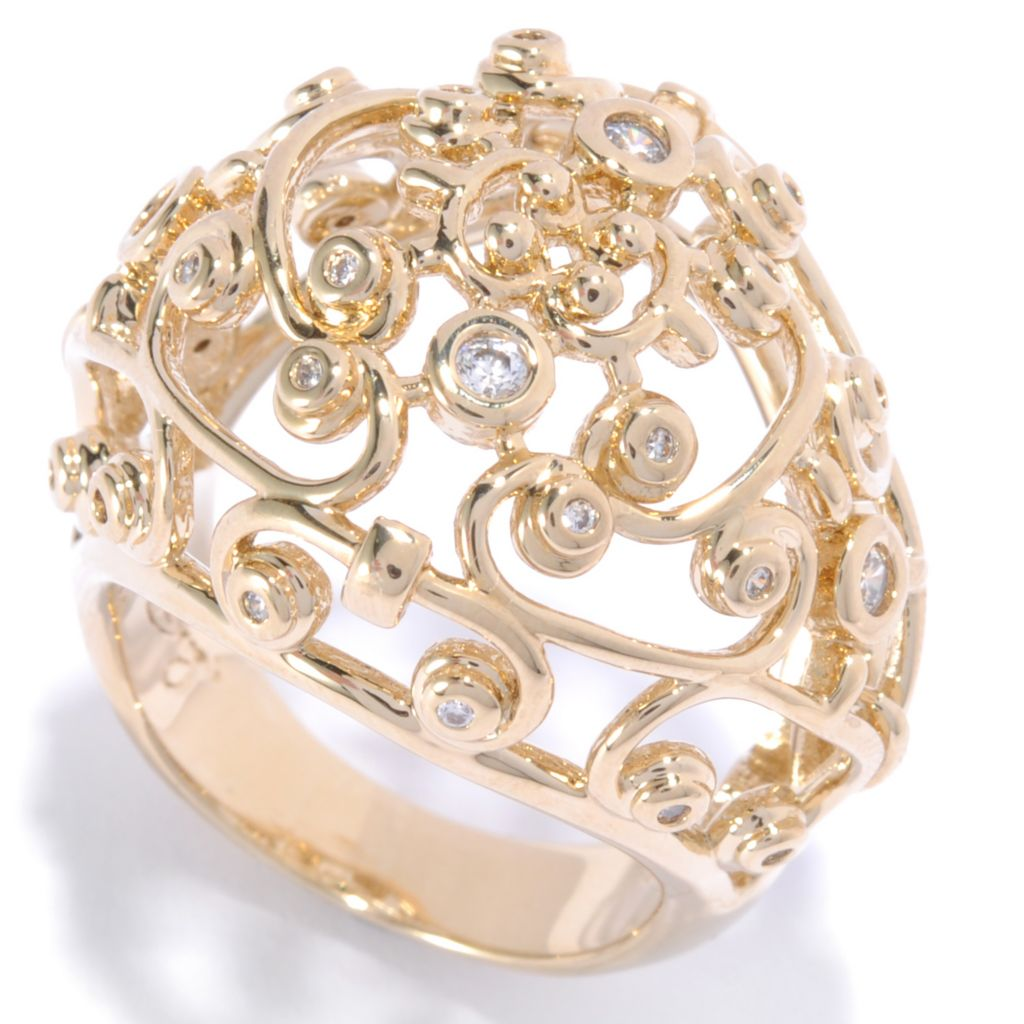 136-097 - Bergio 18K Gold Embraced™ Round Cut Simulated Diamond Filigree Dome Ring