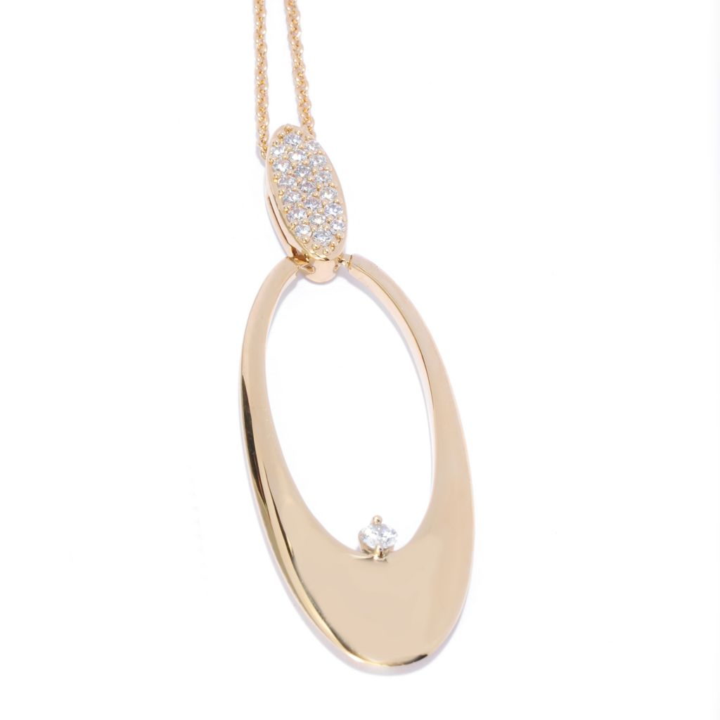 136-098 - Bergio 18K Gold Embraced™ Simulated Diamond Open Oval Drop Pendant w/ Chain