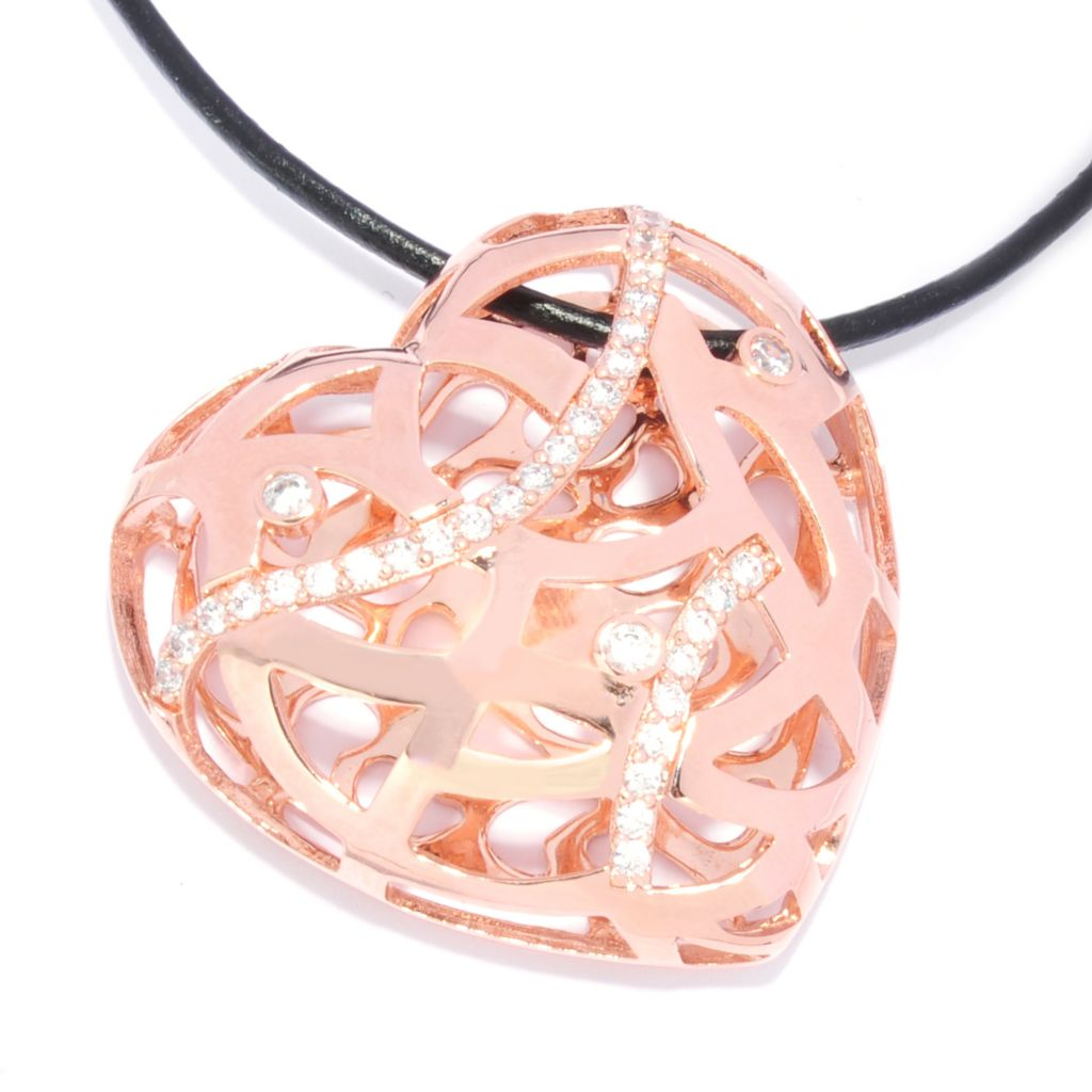 136-099 - Bergio 18K Rose Gold Embraced™ Simulated Diamond Woven Heart Pendant w/ Cord