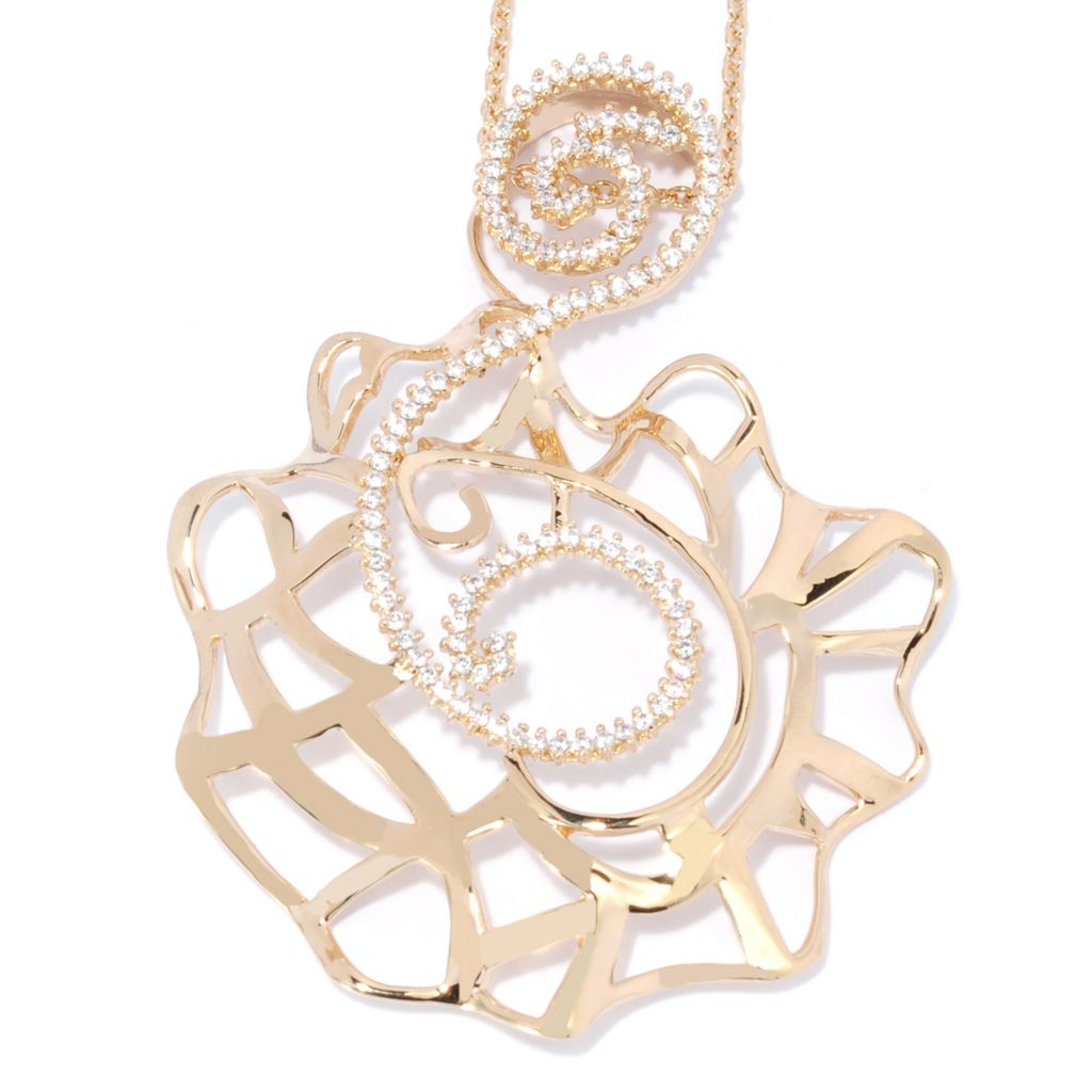 136-100 - Bergio 1.13 DEW 18K Gold Embraced™ Simulated Diamond Abstract Swirl Pendant w/ Chain