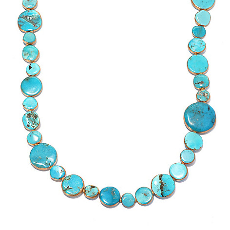 136-102 - Dallas Prince Designs 34'' Coin Shaped Turquoise Endless Necklace