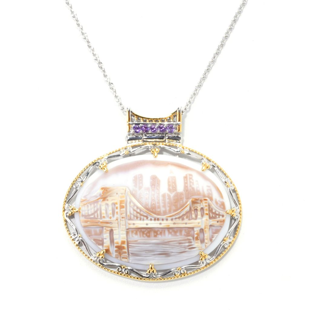 "136-103 - Gems en Vogue II 40 x 30mm Carved Tiger Shell Cameo & Amethyst ""New York"" Pendant"