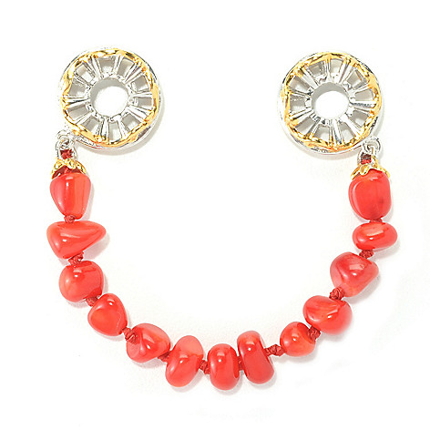 136-104 - Gems en Vogue II Freeform Dyed Red Bamboo Coral Bead Draping Strand Slide-on Charm