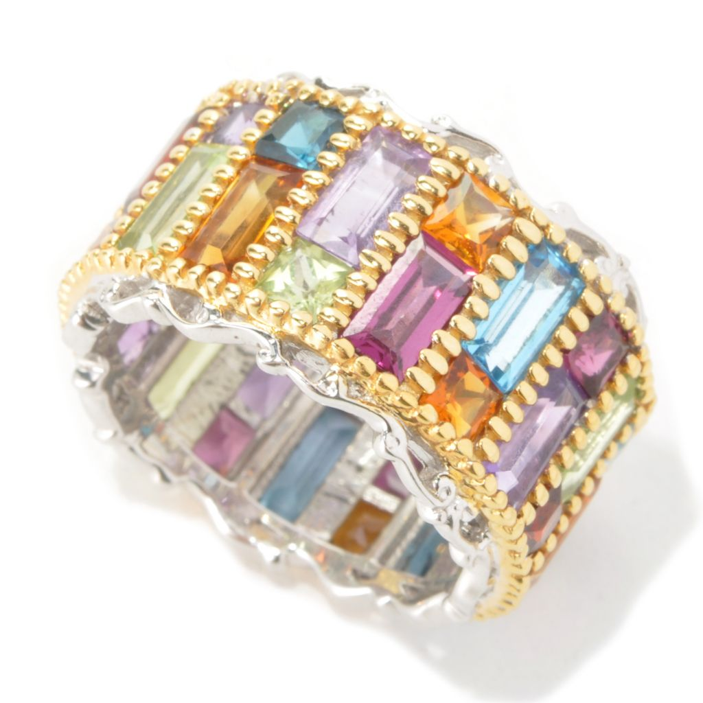 136-106 - Gems en Vogue 7.78ctw Baguette & Square Shaped Multi Gemstone Eternity Band Ring