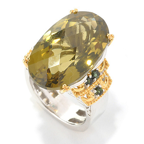136-108 - Gems en Vogue 16.95ctw Oval Olive Green Quartz & Green Tourmaline Ring