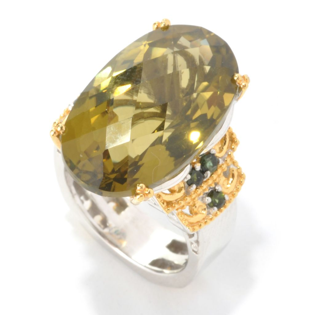 136-108 - Gems en Vogue II 16.95ctw Oval Olive Green Quartz & Green Tourmaline Ring