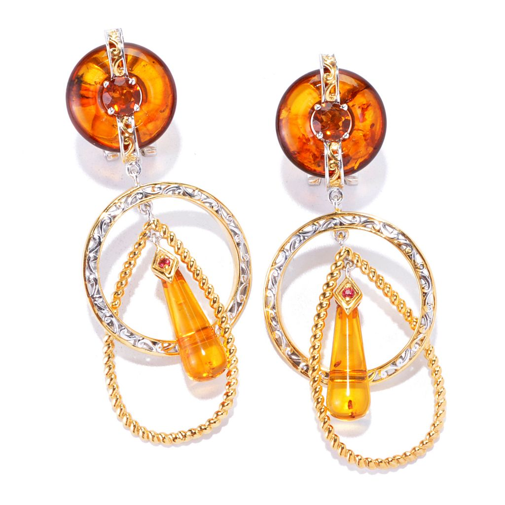 "136-111 - Gems en Vogue 2.25"" 16 x 6mm Baltic Amber & Multi Gemstone Drop Earrings"
