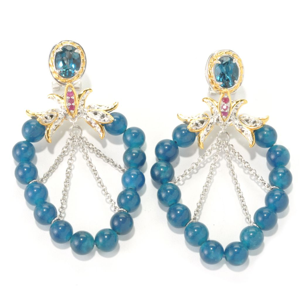 "136-112 - Gems en Vogue 2.25"" Apatite & Multi Gemstone Dangle Earrings w/ Omega Backs"