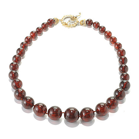 136-114 - Gems en Vogue 19'' Graduated Amber Bead & Citrine Toggle Necklace