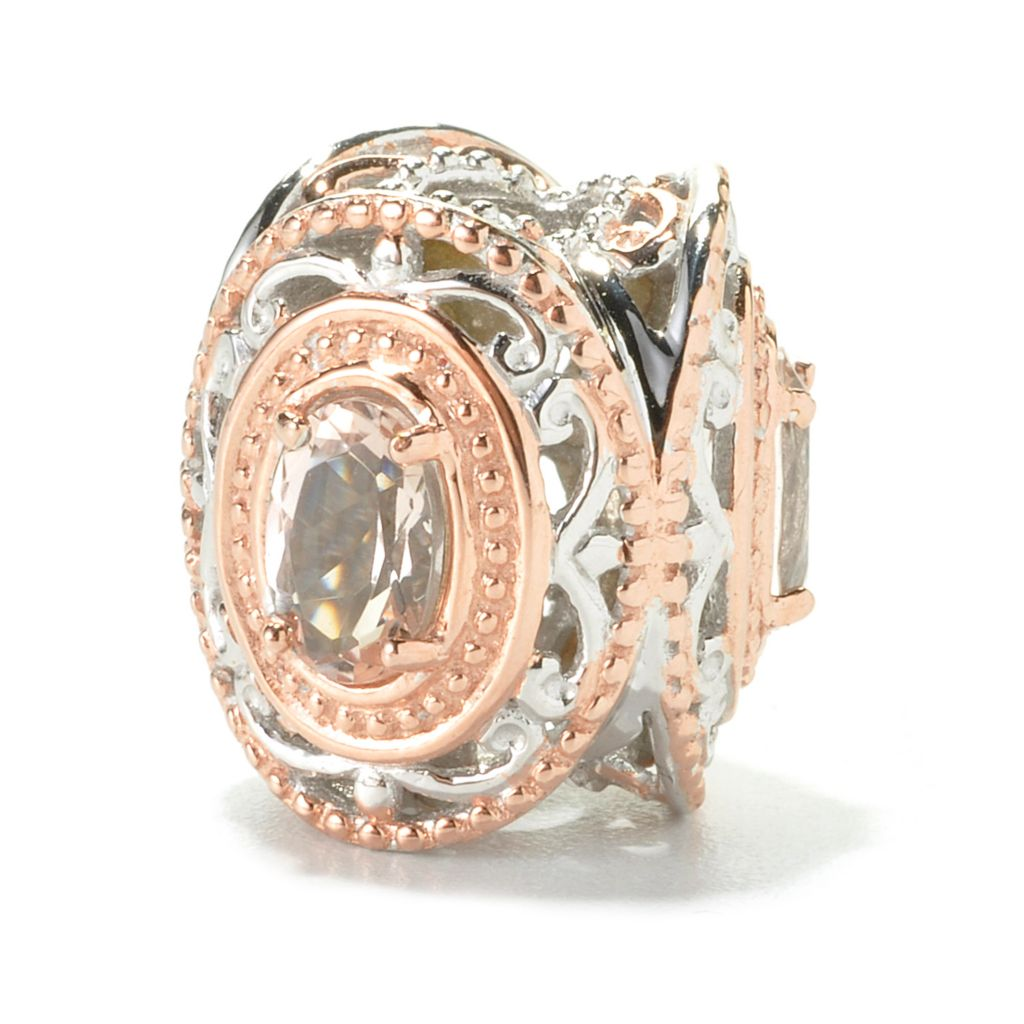 136-117 - Gems en Vogue 1.20ctw Oval Morganite Three-Stone Slide-on Charm