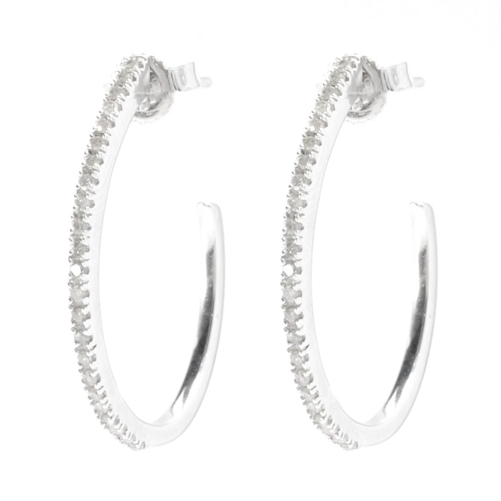 136-125 - Diamond Treasures Sterling Silver 0.25ctw Fancy Color Diamond Oval Hoop Earrings