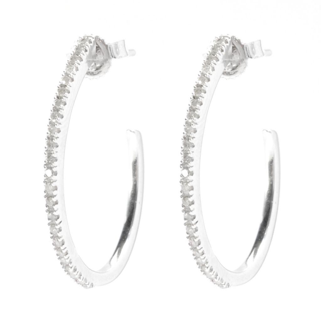 136-125 - Diamond Treasures Sterling Silver 0.25ctw Fancy Color Diamond Oval Hoop Earrings