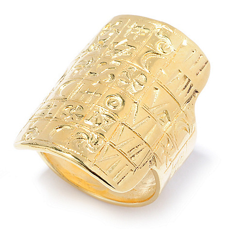 136-128 - Yam Zahav™ 18K Gold Embraced™ Carved Symbolic Scrollwork Elongated Ring