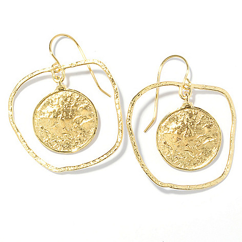 136-130 - Yam Zahav™ 18K Gold Embraced™ 1.5'' Hammered Cut-out Disk Drop Earrings