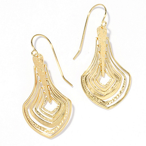 136-132 - Yam Zahav™ 18K Gold Embraced™ 1.75'' Hammered & Polished Cascading Drop Earrings
