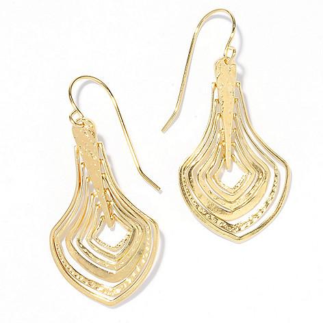 136-132 - Yam Zahav™ 18K Gold Embraced™ 1.75'' Hammered & Polished Cascading Drop Earrings