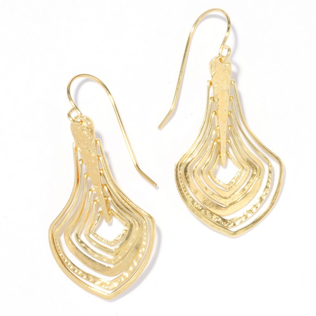 "136-132 - Yam Zahav™ 18K Gold Embraced™ 1.75"" Hammered & Polished Cascading Drop Earrings"