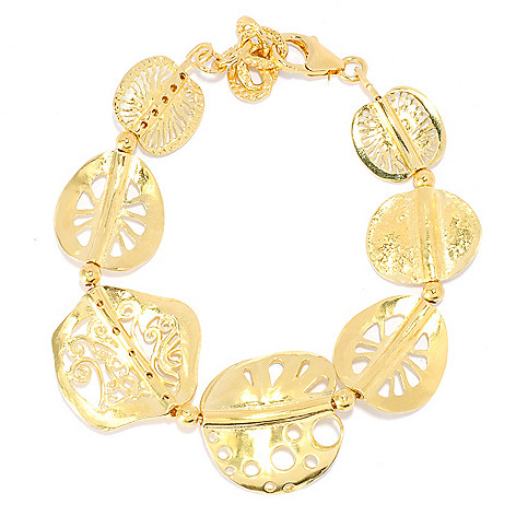 136-135 - Yam Zahav™ 18K Gold Embraced™ Multi Shape Cut-out Link Bracelet w/ 1.25'' Extender