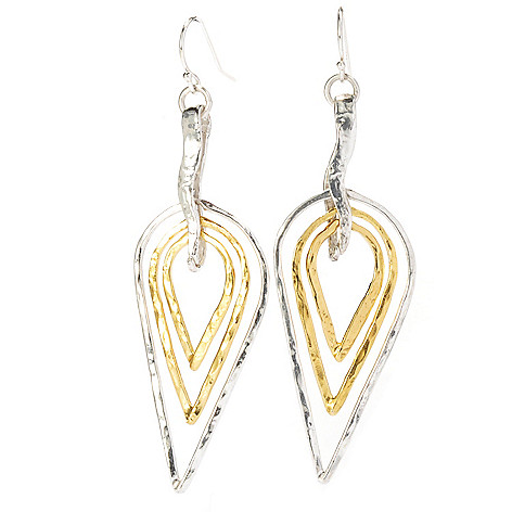 136-140 - Yam Zahav™ 18K Gold Embraced™ Two-tone 2.75'' Hammered Cascading Teardrop Earrings