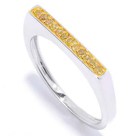 136-146 - Diamond Treasures Sterling Silver 0.10ctw Fancy Color Diamond Flat Top Stackable Ring