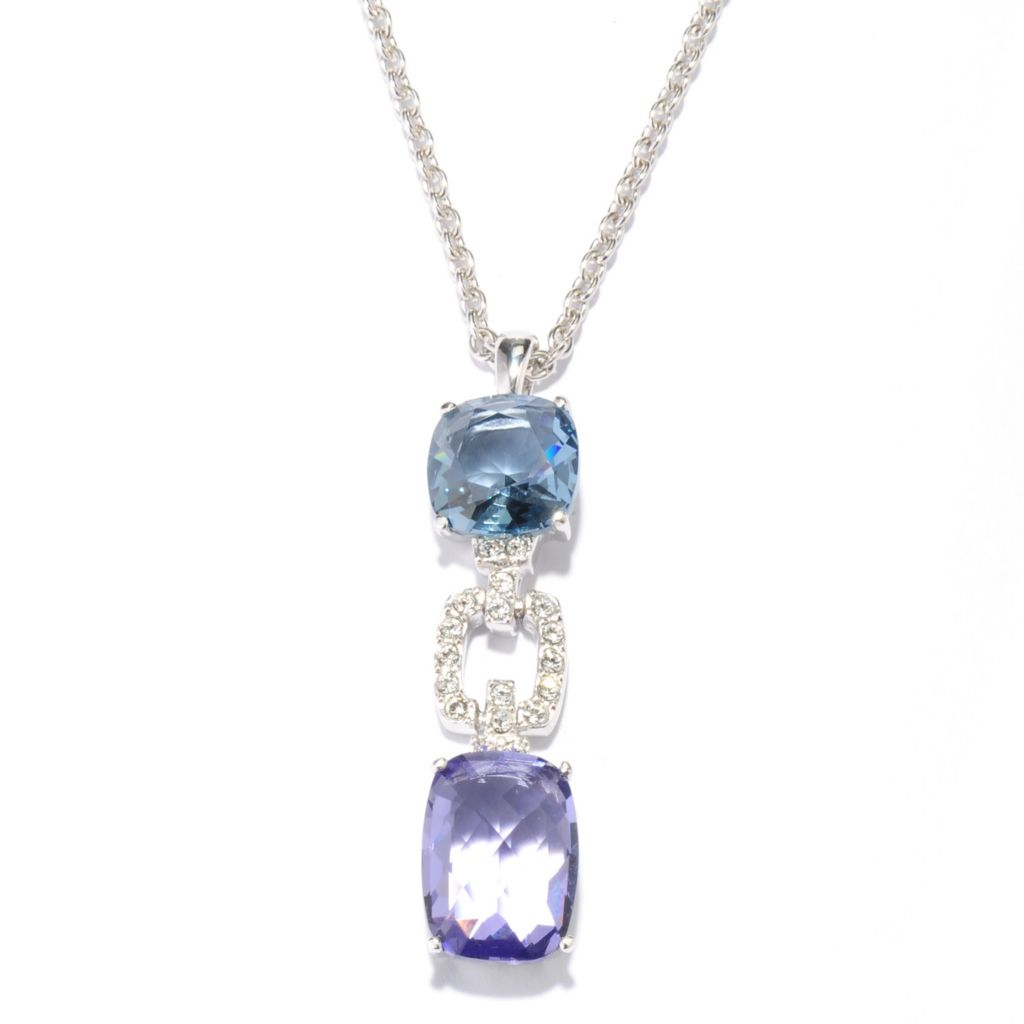"136-149 - Adaire™ 1.5"" Sterling Silver Link Drop Pendant Made w/ Swarovski® Elements"