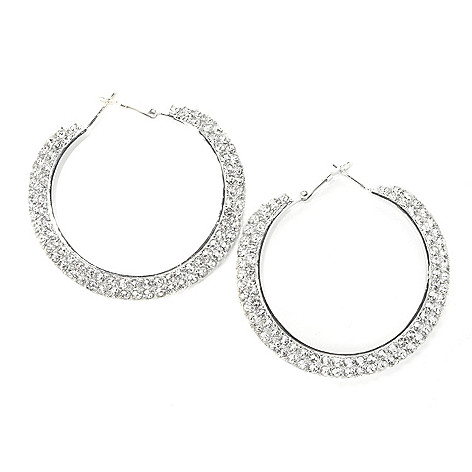 136-150 - Adaire™ 1.75'' Sterling Silver Hoop Earrings Made w/ Swarovski® Elements