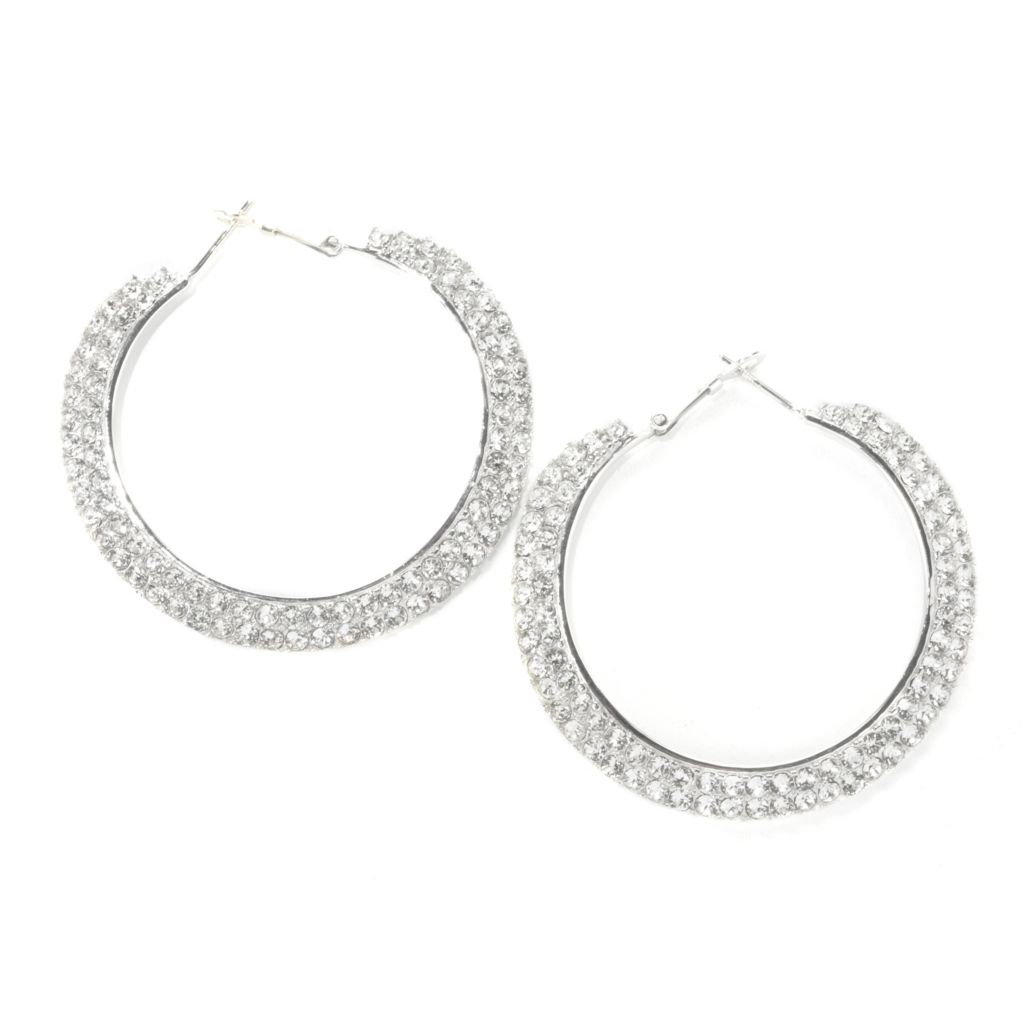 "136-150 - Adaire™ 1.75"" Sterling Silver Hoop Earrings Made w/ Swarovski® Elements"